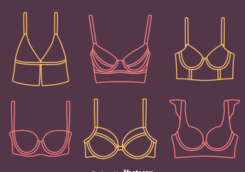 Bra And Bustier Line Icons Vectors - vector gratuit #445573