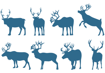 Deer Collection Silhouettes - vector gratuit #445693