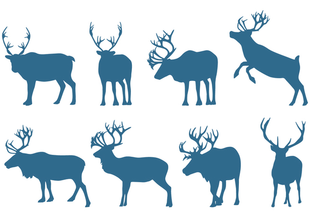 Deer Collection Silhouettes - vector #445693 gratis