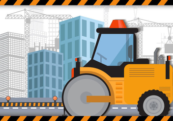 Steamroller For Construction - vector gratuit #445703