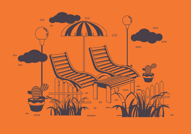 Summertime Patio Vector - vector #445713 gratis