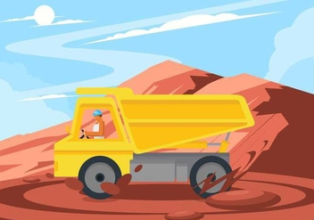 Man Driving Road Roller Vector - Free vector #445753