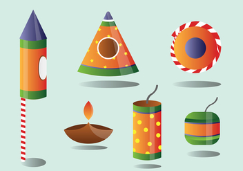 Diwali Fire Cracker Vector Pack - Kostenloses vector #445763