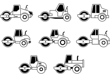 Set Of Steamroller Icons - vector #445793 gratis
