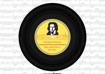 Beethoven Vinyl Single Record Vector Design - бесплатный vector #445803