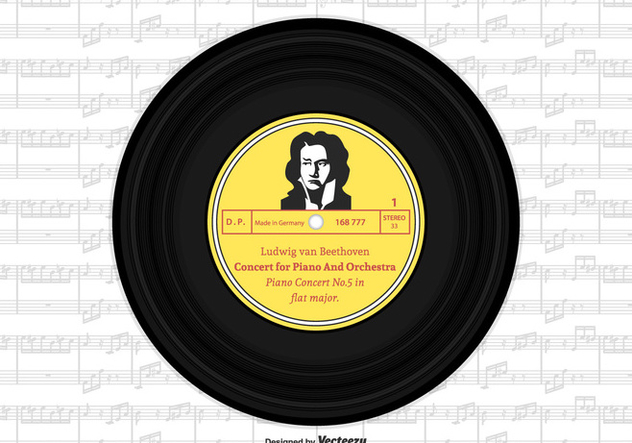 Beethoven Vinyl Single Record Vector Design - Free vector #445803