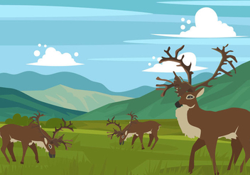Caribou On The Hills Vector - Free vector #445883