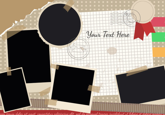 Scrapbook with Travel Theme and Photo Edges Vector - vector #445923 gratis