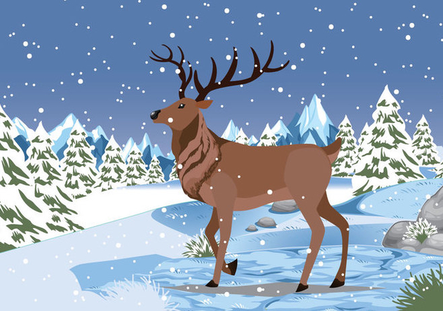Snow Caribou Background Vector Illustartion - Free vector #445933