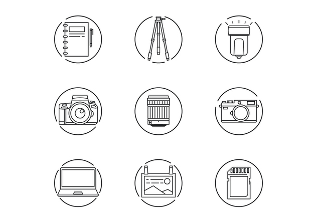 Photographer Gear Icons - vector #445993 gratis