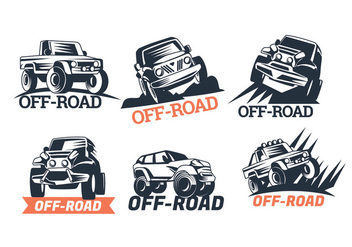 Set of Six Off-road Suv Logos Isolated on White Background - Free vector #446013