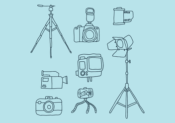 Camera And Complements Doodles - Kostenloses vector #446023