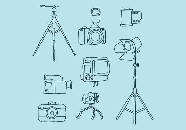 Camera And Complements Doodles - vector #446023 gratis