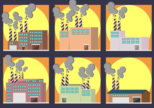 Smoke Stack Factory Pack Vector - vector gratuit #446063