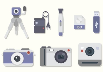 Flat Camera Equipment Vectors - Kostenloses vector #446083