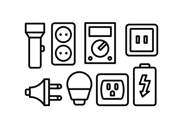Electricity Icon Set - vector #446093 gratis