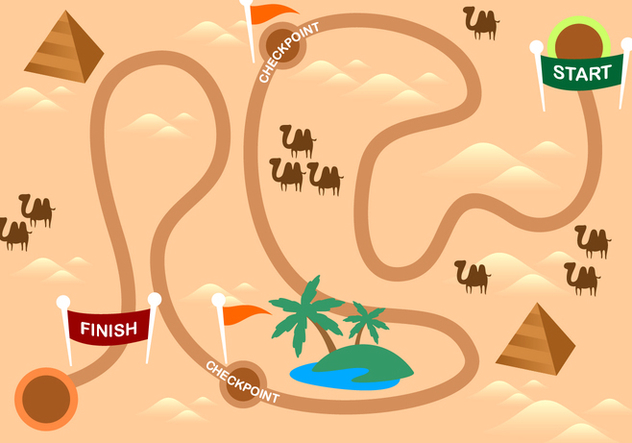 Desert Roadmap Free Vector - бесплатный vector #446253