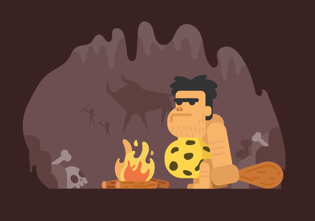 Prehistoric Caveman Illustration - vector gratuit #446263