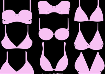 Vector Set Of Pink Bra And Bustiers - Free vector #446283