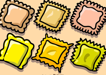 Vector Hand Drawn Pasta Ravioli Icons - vector gratuit #446293