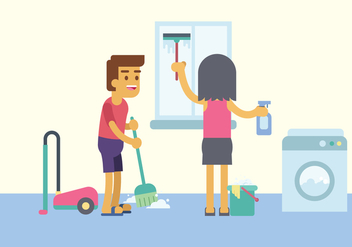 Free Home Cleaning Illustration - Kostenloses vector #446303