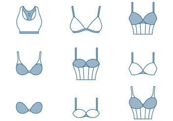 Bra Thin Line Icons - vector #446393 gratis