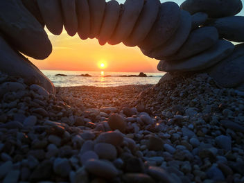 Conero Park, Ancona, Italy. Sirolo beach in the lights of a sunrise - image #448663 gratis