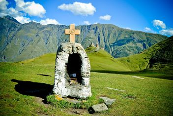 Cross in mount Kazbek - Free image #449643