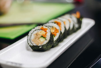 Sushi rolls with tuna, carrot and cucumber. Close up - Free image #450673
