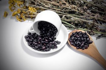Coffee beans in cup and wooden spoon and dry flowers on white background - Free image #452453