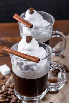 Coffee with whipped cream and cinnamon stic - image #460773 gratis
