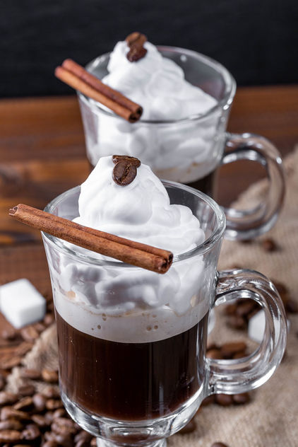 Coffee with whipped cream and cinnamon stic - image gratuit #460773
