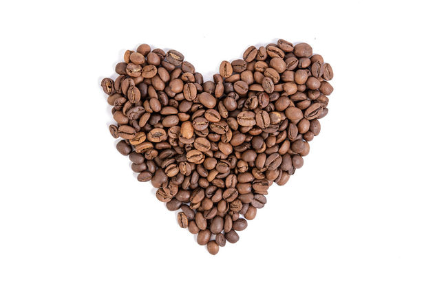 Raw Coffee Heart shape above white background - image gratuit #462303