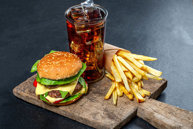 Delicious junk food-Burger, iced drink and fries (Flip 2019) - image gratuit #464063