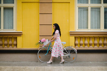 A girl in a vintage dress in the style of the 50-60s with a bicycle on a city street on a cloudy day. - image #472243 gratis